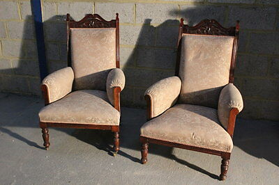 Antique Pair Of Edwardian Armchairs - Walnut