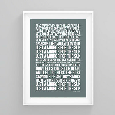 Red Hot Chili Peppers Road Trippin' Lyrics Poster Print Wall Song Artwork