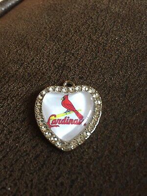 ST LOUIS CARDINALS  Heart Shaped Pendant For Necklace Crystals MLB Baseball