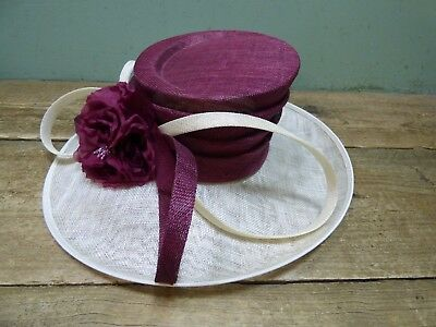 Womens Cream and Red Mother Of The Bride Formal John Lewis Hat In Box