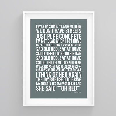 Simply Red Sad Old Red Lyrics Poster Print Wall Song Artwork
