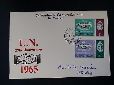 SCARCE 1965 Falkland Islands Inter Cooperation Year FDC ties 2 stamps to Stanley