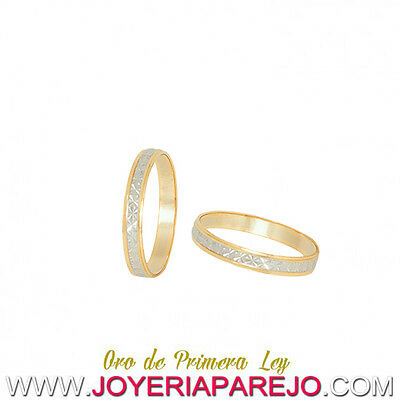 Pair of Alliances of Wedding Gold Two-color of 18 Carat REF:1725