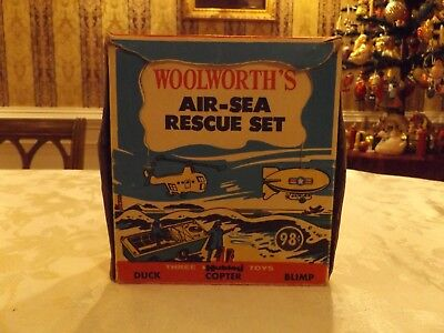 Rare Hubley Woolworths Air - Sea Rescue Set W/ Blimp  Orig. Box Great Graphics
