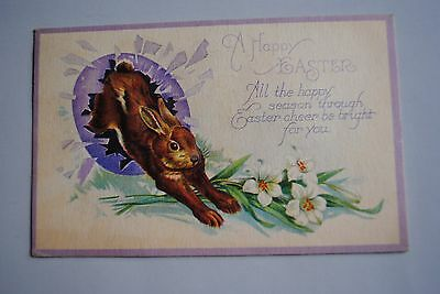 Antique A Happy Easter Postcard Rabbit Flowers Made in USA