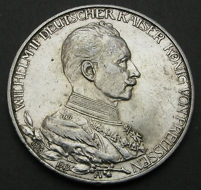PRUSSIA (German State) 3 Mark 1913A - Silver - 25th Year of Reign - VF - 191