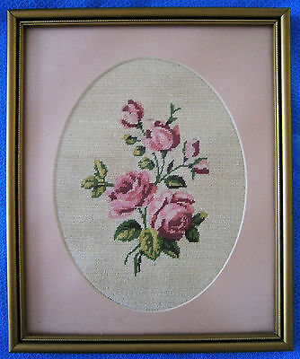 """Vintage Hand Made Work of Needle Art """"Roses"""" in Petite Point Half Cross Stitch"""