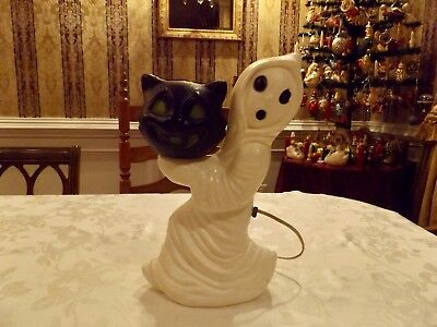 Very Nice Halloween Blow Mold Running Ghost with Black Cat light