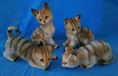 Vintage Genuine Bone China Miniature Cat Figurine Hand Painted Collectable