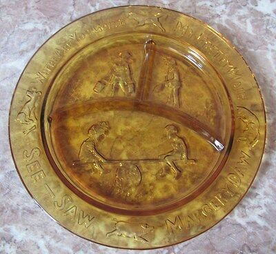 See Saw Margery Daw Where Are You Going - Child 's Divided Plate - Amber Glass