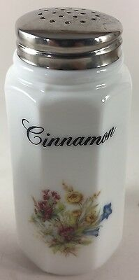 Cinnamon Shaker w/ Floral - Paneled - Milk Glass - Mosser Rosso USA