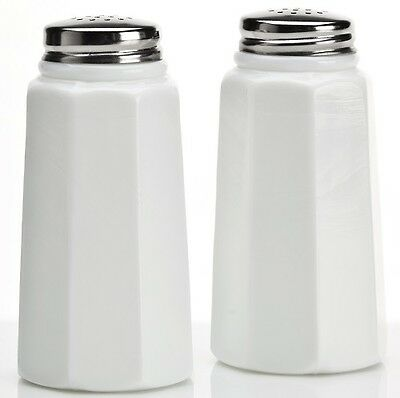 Salt & Pepper Shaker Set - Paneled - White Milk Glass - Mosser USA