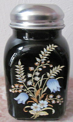 Stove Top Shaker w/ Floral Design - Mosser USA - Black Glass
