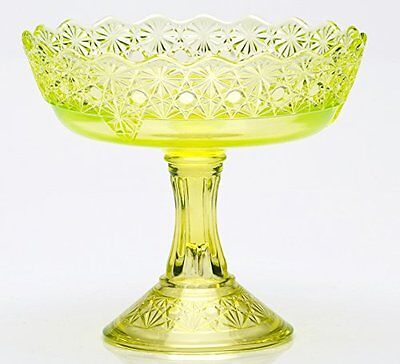 Compote - Queen Pattern - Vaseline Glass - Mosser USA