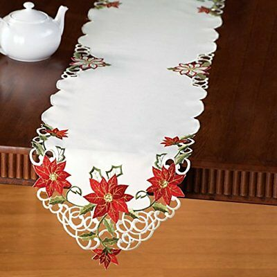 Embroidered Christmas Poinsettia Table Linens Runner