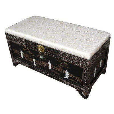 Mother Of Pearl Oriental Furniture - Black Ottoman With Storage