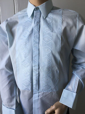 Embroidered Blue Dress Shirt Rochester 70's Pointy Collar 42-43in x 15.5in M
