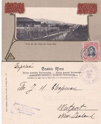 Costa Rica 1901 ppc inlaid with  San Jose  2c adh on front to New Zealand