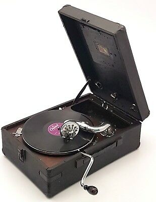 Collectible Antique His Masters Voice 102 Gramophone Vintage Portable Phonograph
