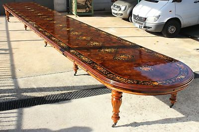 HUGE ITALIAN DINING DOUBLE WIND OUT TABLE-MARQUETRY- INLAID-10 Meters-OLIVE WOOD