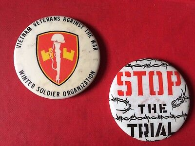 Vietnam Veterans (Winter Soldier Org) + Stop the Trial PIN BUTTONS - 1970/71