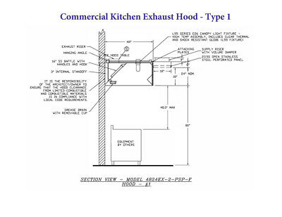 5' Type 1 Commercial Kitchen Hood