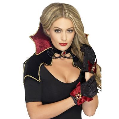 Womens Vampire Mini Cape Collar Halloween Fancy Dress Costume Accessory Womens