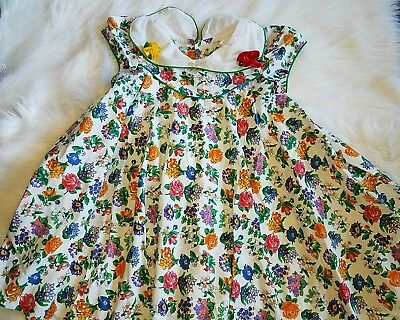 Vintage Peaches And Cream girls size 6 Floral dress