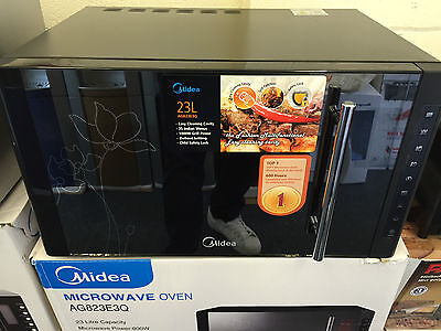 Midea 23 Litre Microwave with Grill 800W/1000W in Black with Mirror Finish A