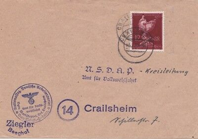 Germany 1945 {16.1) from Crailsheim for NSDAP with there cachet. Local