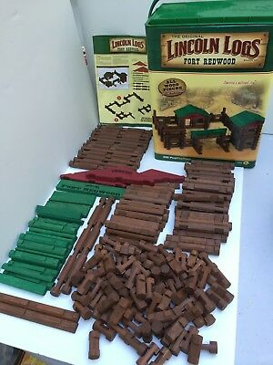 Lincoln Logs Fort Redwood Almost Complete w/Instructions & Storage Container