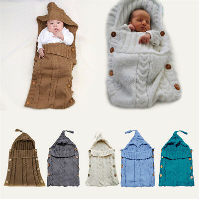 Newborn Baby Kids Knitted Blanket Swaddle Sleeping Bag Sleep Sack Stroller Wrap