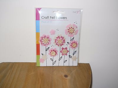 1 Brand New Pack Of 10 Craft Felt Flowers In Pink