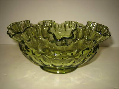 Footed Green Glass Ruffled Thumbprint Bowl Vintage