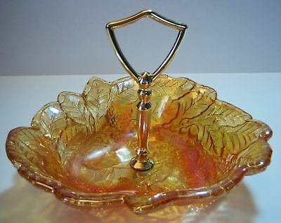 Indiana Glass Dish Amber Glass Loganberry Brass Handle
