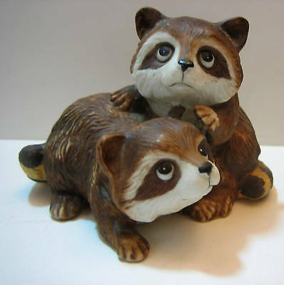 Two Baby Raccoons Figurine Porcelain