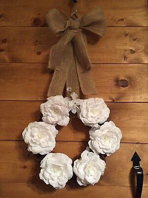 Wreath! Beautiful White Rose On Grapevine With Country Styled Bow.