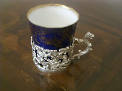Attractive Late Victorian Chocolate Pot In Silid Silver & Porcelain B'ham 1876