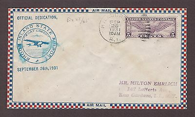 mjstampshobby 1931 US Rhode Island State Airport Cover Used (Lot4181)
