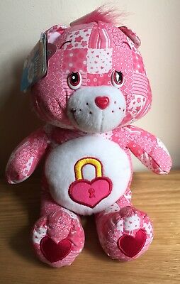"""BNWT Care Bear Secret Bear Special Edition Pink Patchwork 2005 10""""Soft Toy Plush"""