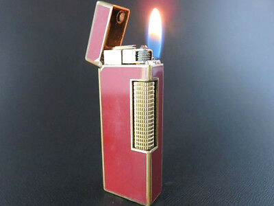 Dunhill Vintage Rollagas Lighter Burgundy Red Lacquer & Gold [653]