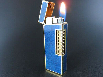 Dunhill Vintage Rollagas Lighter Blue Marble Lacquer & Gold [643]