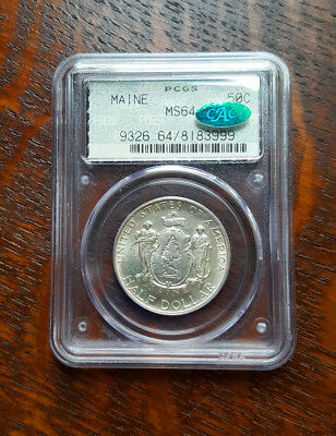 1920 Maine Silver Commemorative Pcgs Ms64 Doily Holder & Cac