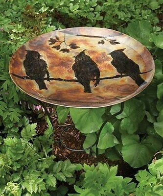 Ancient Graffiti Cedar Waxwing Standing Bath - Copper Color For Songbird Lovers!