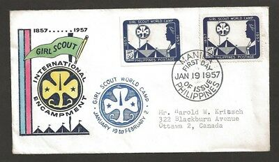 1957 Philippines World Camp Scouts Girl Guide FDC 1