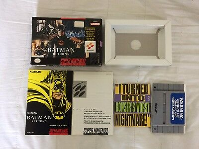 Snes Batman Returns Box Manual and Inserts Only