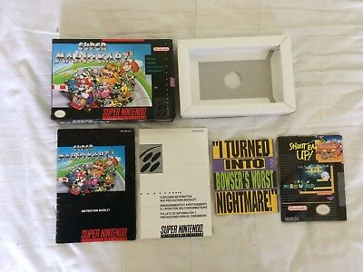 Snes Super Mario Kart Box Manual and Inserts Only