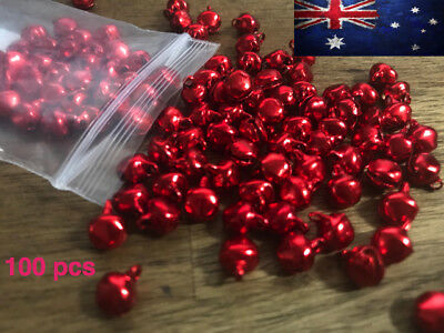 100 Pcs Red Colour Iron Loose Beads Christmas Jingle Bells Pendants Charms Xmas
