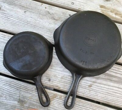 Griswold No. 6 Cast Iron P/N 699 & 3 Skillet Lot Of 2 Grooved SBL Small Logo