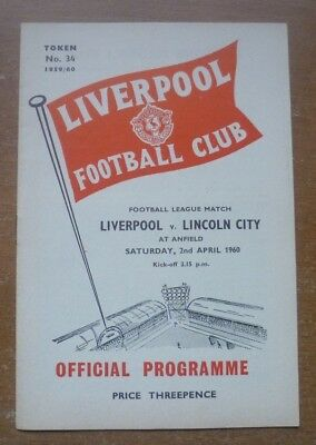 Liverpool v Lincoln City, 1959/60 - Division Two Match Programme.